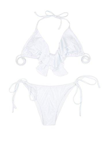RELLECIGA Damen Bademode Triangel Bikini mit Rüsche am Top Weiß