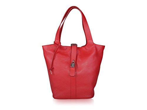 Maxima Milano Sac porté épaule Italien, Cuir Grainé Rouge Style Seau - Sac à Main Fabriqué en Italie