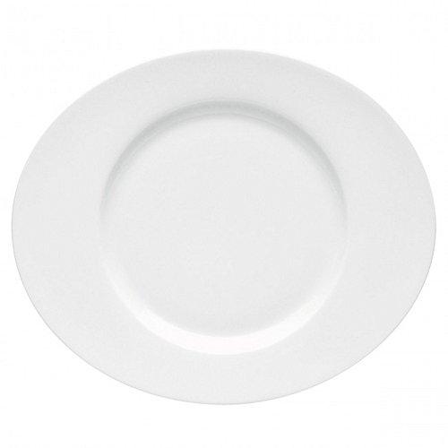 DEGRENNE - Boreal Blanc Lot de 6 assiettes plate ovale porcelaine 31x26,5 cm