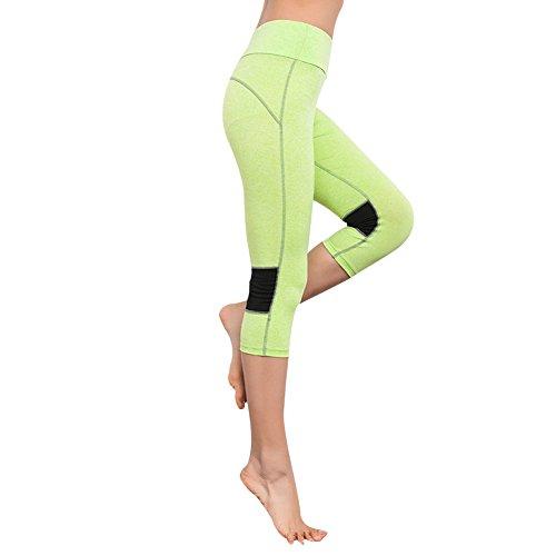 EXIU Femmes Taille haute Fitness YOGA Sport Short Capri stretch Guêtres Vert
