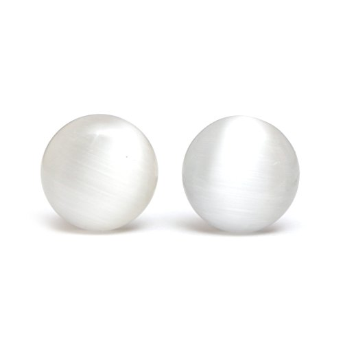 Idin Ohrclips - Weiße Glasperlen mit Katzenaugeneffekt (18 x 18 mm)