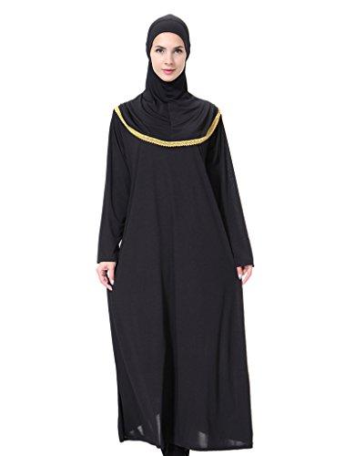 GladThink Frauen Muslim Nahost Arabien Maxi Kleid Mit Hijab Gold M