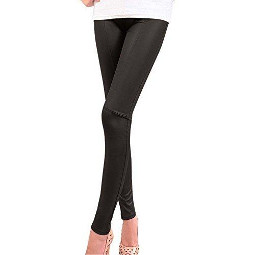 IHRKleid Damen Leggings Schwarz Baumwolle Legging M/L/XL/XXL (EU36(Asia M), Schwarz)