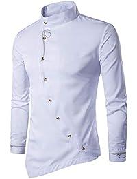 c9044979e02cef KEERADS Herren Hemden Slim Fit Langarm Unregelmäßige Ränder Asymmetrisch  Knopf Stehkragen Business Freizeithemd