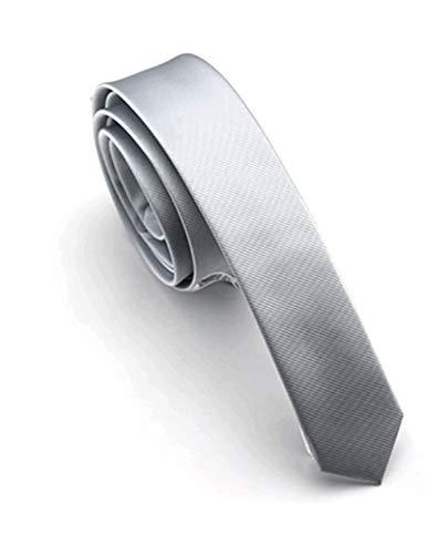 JEMYGINS Krawatte Silber Krawatten für Herren seide schmale Hochzeit Schlips (6) - Slim-krawatte Tie