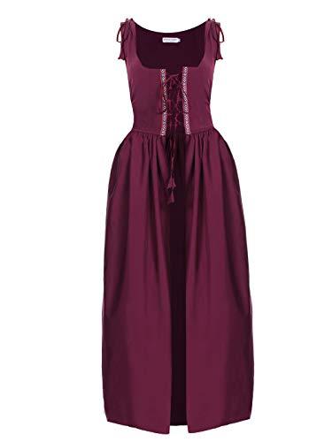 Anna-Kaci Womens Medieval Renaissance Costumes Irish Over Cosplay Dress,Burgundy,Medium