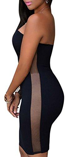 Abito donna vestito donna abito aderente trasparente sexy vestito donna party Nero