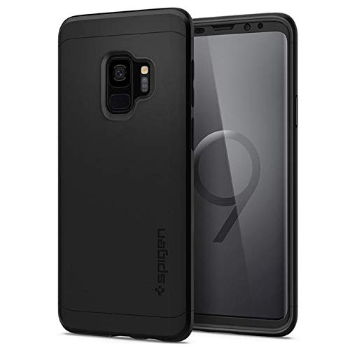 Spigen 592CS22872 Thin Fit 360 Kompatibel mit Samsung Galaxy S9 Hülle, 360° Rundumschutz Gratis Panzerglas Handyhülle Schutzhülle Case Schwarz