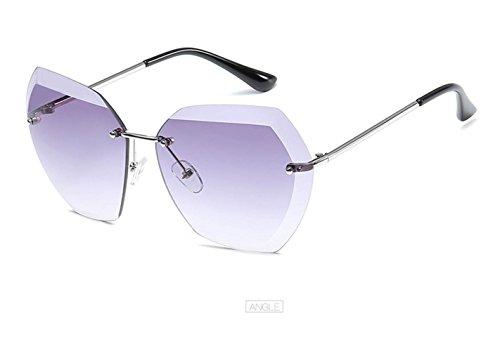 LZHA Classical Oversized Women's Rimless Metal Sunglasses Goggles UV400 Protrction