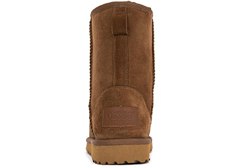 OZZEG Classique hiver bottes Peau de mouton bottes neige chaussures en peau de mouton laine féminin Brun