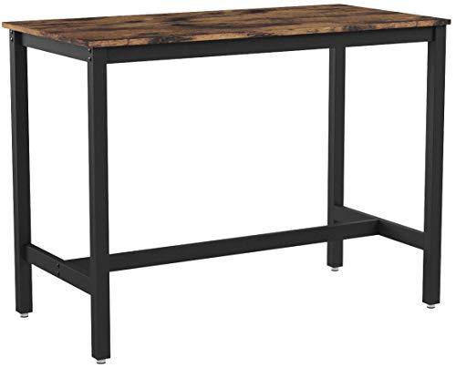VASAGLE Bartisch Metall, Stabiler Stehtisch Tisch 120 x 60 x 90 cm für Cocktails, einfache Montage, Holzoptik, Küchentisch Vintage, Dunkelbraun LBT91X