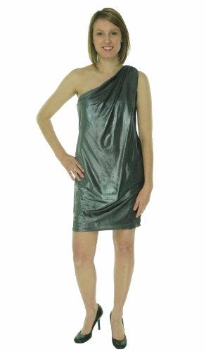 Drapiertes Metallic Knit One Shoulder Kleid (4, Schwarz / Silber) (Metallic Kleid Knit)
