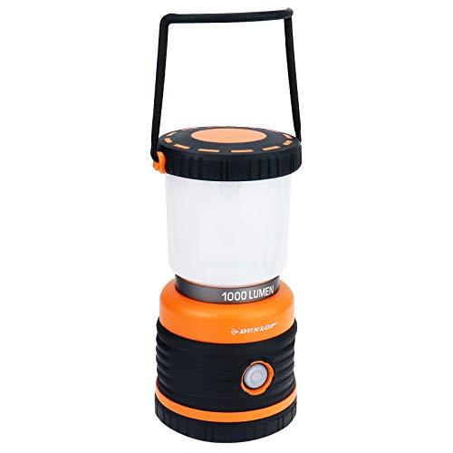 DUNLOP Outdoor Camping Leuchte LED | 1000 Lumen | 4 Leuchtmodi | Dimmbar | Stoßfest, Kratzfest+ Spritzwasser geschützt IP44 | 46 SMD