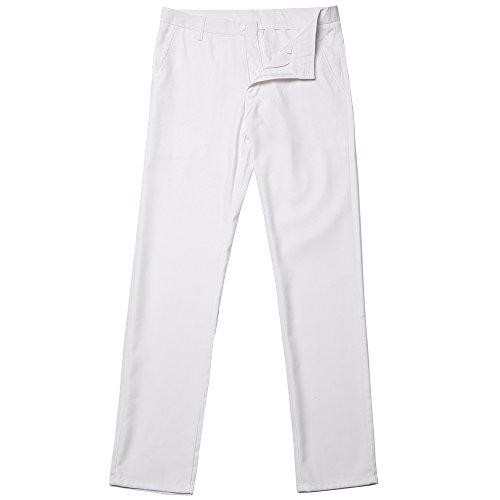 Herren Anzug Slim Fit 3 Teilig mit Weste Sakko Anzughose Business Smoking von Harrms,9 Farben, Größe 46-56 Weiß