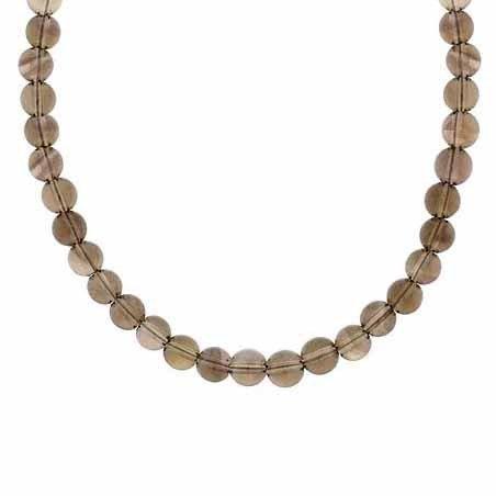 Sterling Silber 6mm Echte Rauchquarz Stein Perle Perlen Kette 38,1–48,3cm Halskette