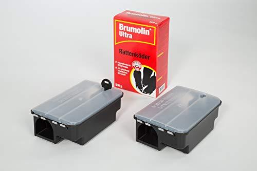 Köder-Discount Sparset Rattenbekämpfung - 2 Köderboxen Plus 500g Brumolin Ultra Rattengift