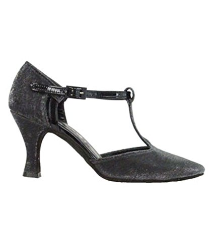 Tanz 9400 Made Ritmo Damen Schuhe 7 Schwarz Cm Glanz Absatz spinnstoff Italy Salsa Farbe Und Rumba Tango Chromledersohle In Latein TT1xYr