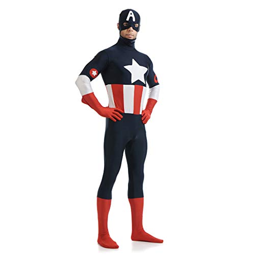 QWEASZER Offizielles Kostüm von Captain America - Cosplay Kostüm Kampfanzug Kostüm Rollenspiele Kleidung Bodysuit Spandex Jumpsuits,Captain - Captain America Bodysuit Kostüm