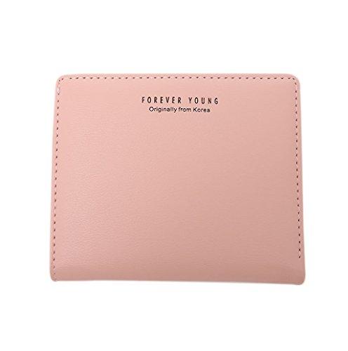 Dairyshop Borsa della borsa della moneta del supporto della carta del raccoglitore della mini di cuoio della ragazza delle donne di modo (Verde chiaro) Rosa