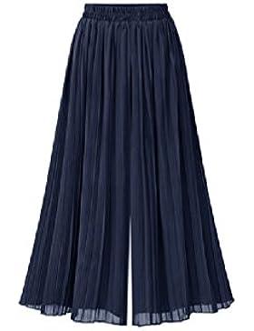 SYGoodBUY Pantalones Largos de Mujer Pantalones Largos de Gran Tamaño 3/4 Talla Chic Elástico de Verano