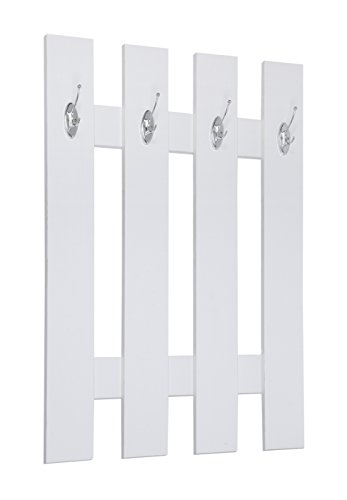 ts-ideen Garderobe Wandgarderobe Flur Diele Paneel Hakenleiste Holz weiß mit 4 Haken 100 x 70 cm