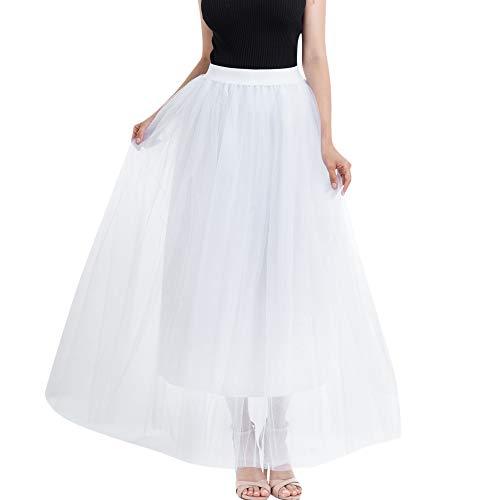 Andouy Damen Tutu Maxi Langer Rock Tüll Petticoat Mesh Plissee Dance Organza Dress-up Prinzessin Größe 36-46(36-46,Weiß)