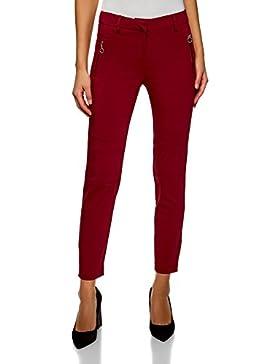oodji Ultra Mujer Pantalones Ajustados con Cremalleras Decorativas y Pespunte