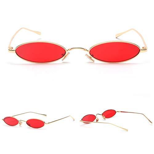 Wghz Kleine ovale Sonnenbrille für Männer Männlich Retro Metallrahmen Gelb Rot Vintage Kleine runde Sonnenbrille für Frauen Neu