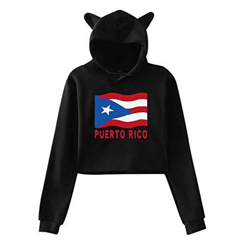 ZJKDKJYXG Puerto Rico Flag Frauen Cat Ear Hoodie Stilvolle Langarm Revealed Nabel Kapuzenpullover