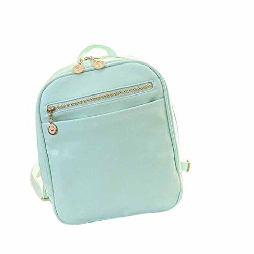 Borsa a tracolla, lo zaino , feiXIANG 2017 Ragazze Cuoio artificiale borse scuola di pelle zaino viaggio borsa donna spalla zaino , 24cm (L) * 30 (H) * 8cm (W) (Blu chiaro) menta verde