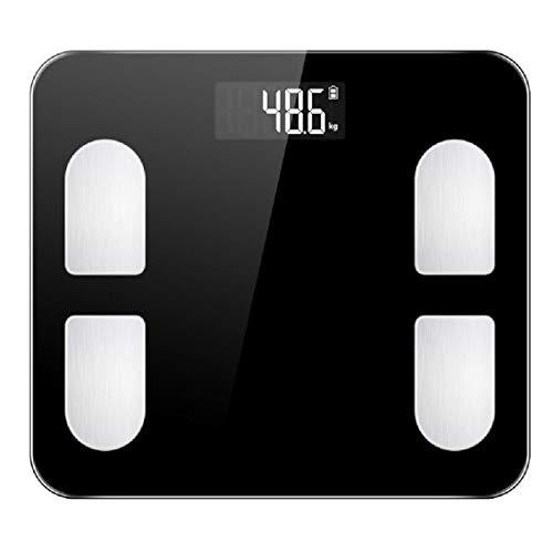 ZXB Waagen für Body Composition Analyzer Bluetooth Körperfettwaage Smart-Digital-Badezimmer-Gewicht Mit Smart App,Black-Battery