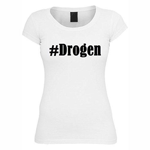 T-Shirt #Drogen Hashtag Raute für Damen Herren und Kinder ... in den Farben Schwarz und Weiss Weiß