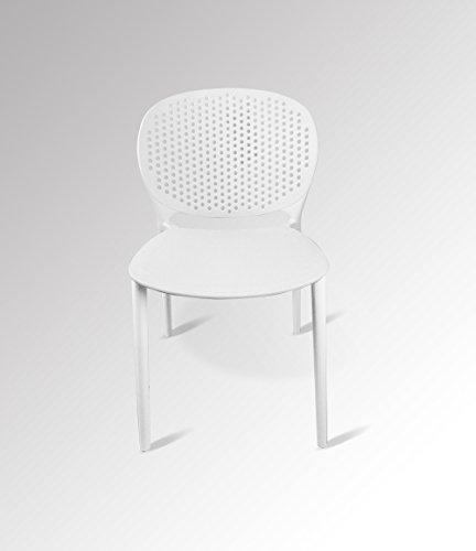 Meubletmoi Set di 4 sedie Bianche impilabili – Design Contemporaneo ...