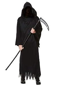 Karnival Costumes- Halloween Grim Reaper Disfraz, Color negro, large (84189)
