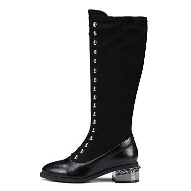 RTRY Scarpe Donna Floccaggio Moda Inverno Stivali Stivali Tacco Piatto Rivetto Per Abbigliamento Casual Nero Black Us6 / Eu36 / Uk4 / Cn36 US5.5 / EU36 / UK3.5 / CN35