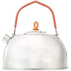 0.6 L al aire libre tetera portátil tetera de acero inoxidable mini silbido tetera olla de café-redondo canalón diseño con mango de silicio para acampar pesca de picnic