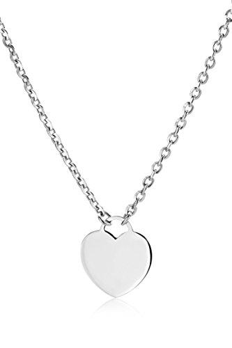 Miore Kette - Halskette Damen Kette Silberfarbig 925 Sterling Silber mit Herz   42 cm