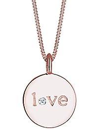 Elli PREMIUM - Collier court Gravure Love Plaqué Or Rose - Argent 925/1000 - Diamant - 0112651115_45