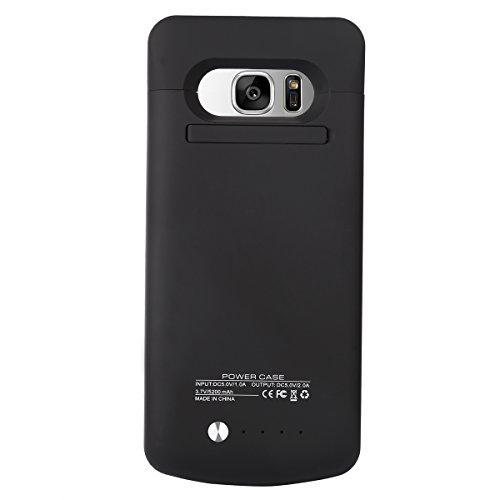 Samsung Galaxy S7 Akku Hülle, BasicStock Ultra Dünn Batterie Hülle Externer Akku Case Aufladbar Batterie Ladehülle Integrierten Ersatzakku Ladegerät Power Bank Backup Extra Pack (Schwarz)