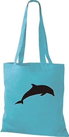 Pochette en tissu Animaux Zoo naturel Wildness poisson Fish delhin Flipper, Sacs bandoulière Plusieurs couleurs - Bleu - sky, 42 x 38 cm