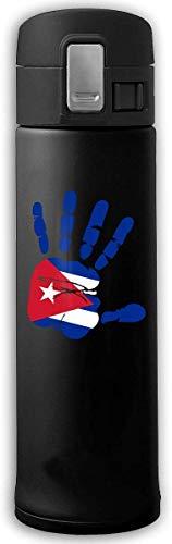 13 Unzen Edelstahl Vakuumisolierungs Kaffeetasse hält Getränke heiß und kalt Handprint Flagge der Kuba Getränkeflasche