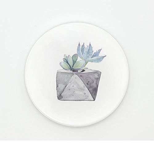 ZCHPDD Grüner Kaktus-Muster-Untersetzer-Untersetzer-Wasserdichter Keramikuntersetzer-Weichholz-Isolierungs-Untersetzer-Hölzernes Muster 04 10.2 * 0.6Cm * 2Pcs