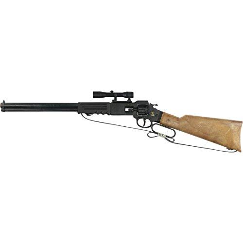 NET TOYS Fusil Arizona 8 Coups 640 mm Noir-Marron Carabine Western Arme à Chargement par la Culasse Cowboy pétard Texas Fusil Jouet shérif