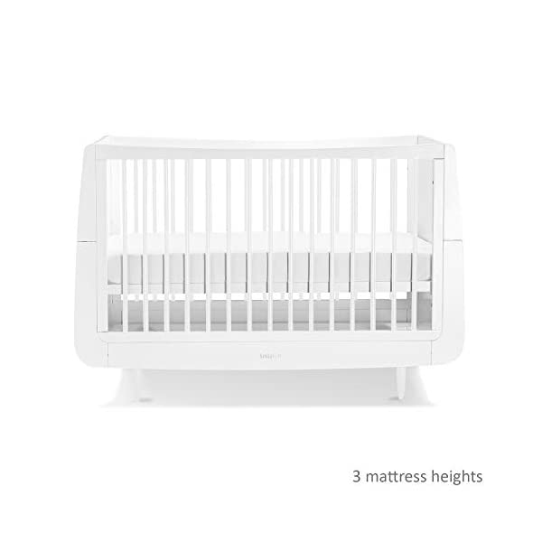 SnuzKot Skandi Cot Bed - White Snuz As your child grows, so does , converting to a toddler bed up to 4 years, and with the additional junior bed extension kit to approx. 10 years. 3 mattress heights; to last from new-born to toddler Designed to last, every  is made using natural beech wood, without the use of mdf or veneer. 7
