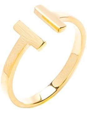 Happiness Boutique Damen Offener Wrap Ring in Gold | Titan Ring Minimalist Schmuck mit Gold Plattiert