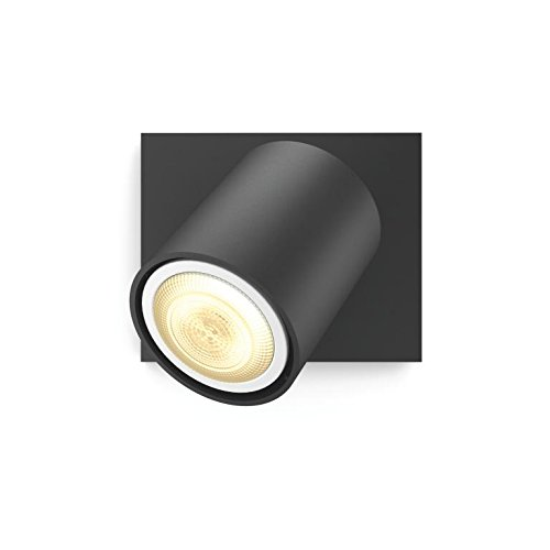 Philips Hue White Ambiance Runner 5.5 W GU10 Single Spot Light Kit, 1 x 5.5 W Hue White Ambiance Perfect Fit GU10 Bulb, 1 x Hue Wireless Dimmer Switch - Black, Works with Alexa