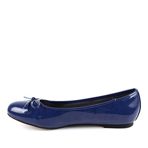 Klassische Ballerinas mit Schleife. Blau