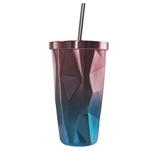 ZSL8 Stroh-Isolierbecher Männer und Frauen doppelwandiger Vakuum-Edelstahl ohne BPA-Kälteschutz-Thermoskanne Office travel tragbarer auslaufsicherer Isolierbecher 500ML,pink (Leben Stroh Flasche Wasser Filter)