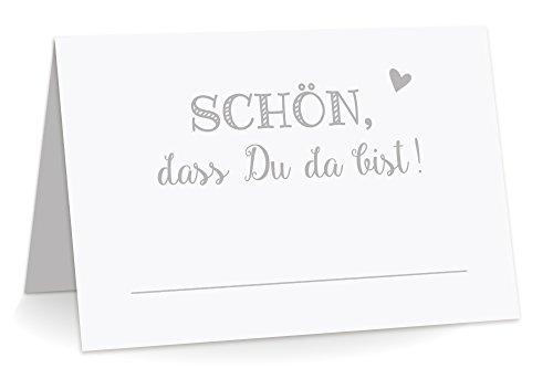 KuschelICH 100 Premium Tischkarten Schön DASS Du da Bist mit Herz grau - Platzkarten zum selbst Beschriften (Grau, 100)