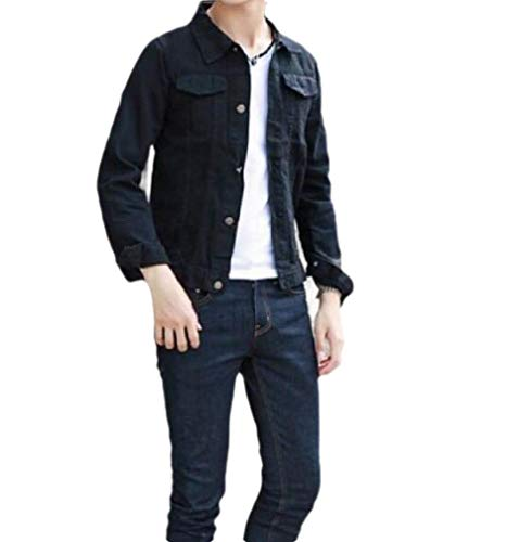 CuteRose Mens Relaxed Fit Slim Stylish Button Down with Pockets Denim Jacket Black S - Joes Relaxed Fit Jeans